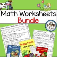 Math Worksheets, Ocean, Farm, Garden, Apples and Bugs Math Bundle. Geated toward preschool, kindergarten and first grade. Made with standards in mind. Let's Learn S'more!