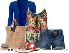 floral top & denim shorts