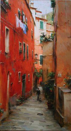 Dmitri Danish Ukrainian artist Original Oil - Stairs of Monterosso #Ukraine