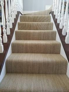 Loves the subtle striation on this New Zealand wool carpet. Interesting carpet makes an ordinary boring stairway come to life.  Hemphill's Rugs & Carpets Costa Mesa / Newport Beach CA