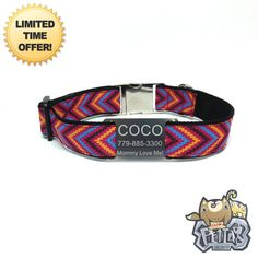 Happy Pet Collar  Colorful Geometric Personalized Dog Collar