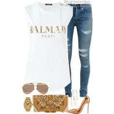 A fashion look from May 2016 by highfashionfiles featuring Balmain, Yves Saint Laurent, Christian Louboutin, Jennifer Meyer Jewelry, Christian Dior and Rolex