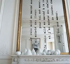 DIY idea for your mirror. Add a text. I am not crazy about this fireplace decor but I love the texted mirror! Mirror Text, Diy Mirror, Wall Mirrors, Sunburst Mirror, Mirror Ideas, Painting Mirrors, Funky Mirrors, Mantle Mirror, Mirror Words