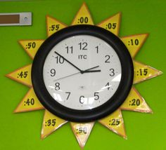 Sun Clock - home school room learning to tell time with classroom wall sun clock. DIY Sun Clock - home school room learning to tell time with classroom wall sun clock. Classroom Walls, Kindergarten Math, School Classroom, Classroom Decor, Classroom Clock, Kids Math, Spanish Classroom, Teaching Time, Teaching Math