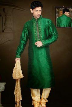 Presenting Green Art Silk #Sherwani with Stone Work Order Now@ http://zohraa.com/green-art-silk-sherwani-30558.html Rs. 4972.
