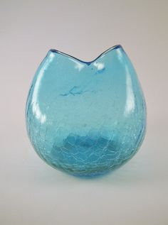 Blenko Hand Blown Pinched Crackle Art Glass Blue by MSMUnlimited
