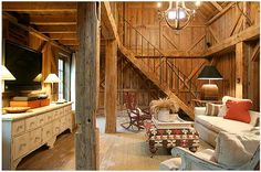 Textured old wood sets the tone in the great room of this converted barn home. Description from pinterest.com. I searched for this on bing.com/images
