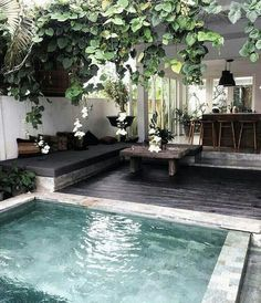 Everybody likes luxury pool styles, aren't they? Here are some top listing of luxury swimming pool picture for your motivation. These fanciful pool design ideas will change your backyard into an exterior sanctuary. Small Inground Pool, Small Swimming Pools, Small Pools, Small Backyards, Big Pools, Small Pool Ideas, Pool Decks, Small Yards With Pools, Small Decks
