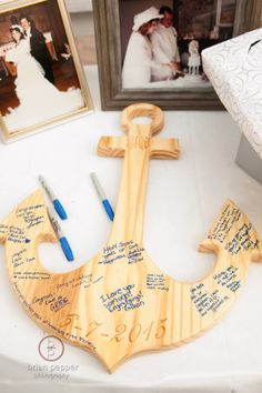 nautical anchor guest book | Paradise Cove Nautical Wedding | Plan It Events www.planitcfl.com | Photo by Brian Pepper Photography