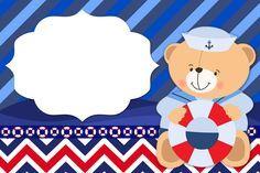 Moldura Convite e Cartão Ursinho Marinheiro: