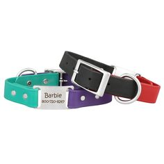 These personalized two-toned collars are a great way to show off your dog's vibrant personality! Durable, waterproof, and odor resistant. Buy yours today! Custom Dog Collars, Personalized Dog Collars, Compare Dog Food, Coconut Oil For Dogs, Can Dogs Eat, Dog Safety, Guide Dog