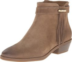 NINE WEST WILLITO DISTRESSED TAN SUEDE ANKLE CHELSEA BOOTIE FRINGE SIDE GOLD >>> Special boots just for you. See it now! : Western boots
