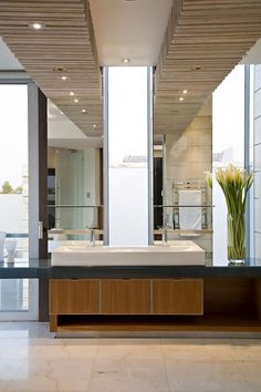 Excellent: Counter (amazing contrast), sinks which are place above counter but seem to be rounded on the inside (not flat). The light from outside although this could simple be backlit wall. The flowers look amazing. Good: The wooden drawers