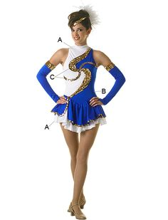 Field Uniform (twister dress)(as pictured for line members)(solid white with Navy Blue sequins for lieutenants)(solid white with gold sequins for captain)