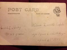 Postcard for Sarah Huey and granddaughter photo, 1912.