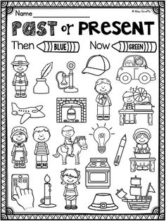 Thanksgiving activities that are no prep and adorable - kids color by past or present to practice how people lived in the pilgrim days vs. now