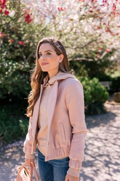 Gal Meets Glam Spring Transitional Pieces -Cuyana Jacket, Bop Basics Sweater, Frame Jeans, Bottega Veneta Espadrilles, Sofia Fima Bag