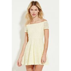 Forever 21 Women's  Off-the-Shoulder Lace Dress ($28) ❤ liked on Polyvore featuring dresses, short sleeve dress, white lace cocktail dress, lace dress, forever 21 dresses and white off shoulder dress