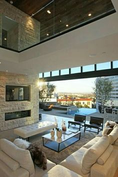 indoor/outdoor living space - only in a design-it-yourself home House Design, Family Room Design, Home Interior Design, Modern Family Rooms, House Interior, Home, House, Luxury Homes, Outdoor Living Rooms