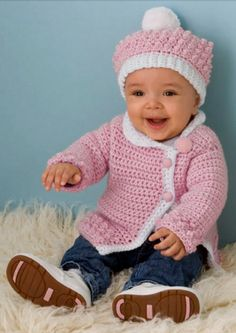 How cute is this Victorian Rose baby sweater -- such an easy project for winter.