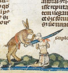 Royal MS 10 E IV, detail of f. 61v. The Decretals of Gregory IX [the Smithfield Decretals], edited by Raymund of Penyafort (or Peñafort); with the glossa ordinaria of Bernard of Parma in the margin. c.1300-1340