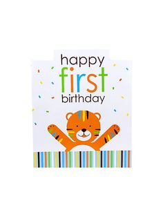 Enhance rather than tame your party decorations with this Baby Animals 1st Birthday Boy centerpiece which features an adorable multi-colored striped tiger, a cute blue rhino wearing a festive polka dot party hat, and a charming green elephant with a #1 balloon.