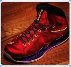 LeBron X 10s Miami Heat Hot Red Metallic Gold Black-A new sample of Lebron 10