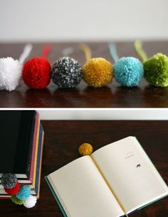 DIY pom pom bookmark. plus this blog has so many more great ideas!