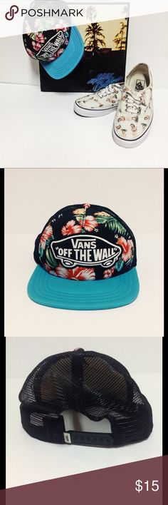 ccbafa43 Vans Floral SnapBack Vans Off the Wall SnapBack trucker hat with floral  print and turquoise blue design excellent condition Vans Other