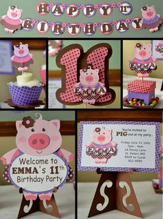 Package Girl Pig Birthday Party Decorations  by bcpaperdesigns, $80.00