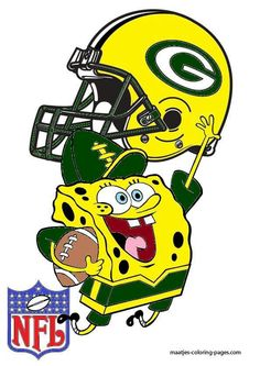 SpongeBob is cheering on the Green Bay Packers. Team colors are dark green, gold and white. Packers Memes, Packers Funny, Packers Baby, Go Packers, Packers Football, Greenbay Packers, Football Season, Green Bay Packers Wallpaper, Green Bay Packers Logo