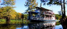 The Graceful Ghost, Big Pines Lodge, Karnack, Texas. The Graceful Ghost is a replica of an 1800's era steamboat and is the last known wood-burning, steam powered, stern paddle-wheel touring vessel in the world.