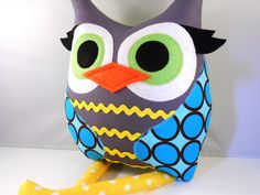 Owl pillow by Bellamina on Etsy....I need several of these eco felt creations on my bench