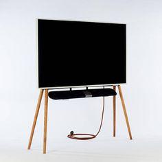 Support tv sur pied contemporain by Esthete LLC Contemporary Tv Stands, Contemporary Design, Pied Support Tv, Tv Holder, Tv Cart, Nordic Furniture, Tv Cabinet Design, Tv Stand Designs, Wooden Tv Stands