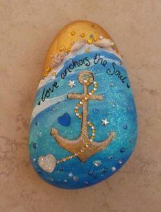 Love anchors the soul - Rock art Seashell Painting, Pebble Painting, Pebble Art, Stone Painting, Rock Painting Patterns, Rock Painting Ideas Easy, Rock Painting Designs, Stone Crafts, Rock Crafts