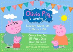 Peppa Pig Invitation Printable Peppa Pig Birthday Party Invite | TomasinaPrintables -  on ArtFire