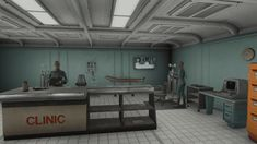 Central atrium, luxurious rooms offered by More Vault Rooms mod and many other features. Fallout 4 Vault Tec, Fallout 4 Settlement Ideas, Atrium, Workshop, Gaming, Rooms, Ceiling Lights, Building, Projects