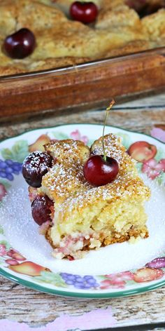 Sweet Cherries Ooey Gooey Butter Cake made with sweet cherries and a creamy cream cheese cake layer with vanilla cake.Recipes Food and Cooking