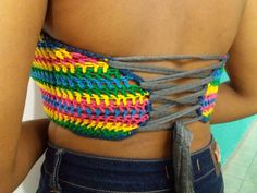 #Croppedcolorido #crochê #crochet #multicolorido costas