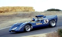 """""""Mark Donohue in Penske's McLaren finished in the rainy Oct. 1968 Can-Am event at Laguna Seca."""" : Mark Donohue - McLaren Chevrolet - Roger Penske Racing - Monterey Grand Prix Laguna Seca - Can-Am Laguna Seca - 1968 Canadian-American Challenge Cup, round 4 Sports Car Racing, Road Racing, Sport Cars, Race Cars, Auto Racing, Can Am, Nascar, Chevy, Chevrolet"""
