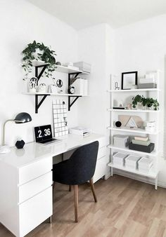 50 Home Office Design Ideas That Will Inspire Productivity - Office Desk - Ideas. 50 Home Office Design Ideas That Will Inspire Productivity – Office Desk – Ideas… 50 Home-Of Study Room Decor, Room Ideas Bedroom, Office In Bedroom Ideas, Ikea Room Ideas, Bedroom Inspo, Bedroom Inspiration, Teen Bedroom Designs, Room Design Bedroom, Cool Bedroom Ideas