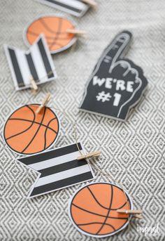 DIY Printable Basketball Banner - DIY Basketball Entertaining Ideas - basketball party decor | Inspired by Charm