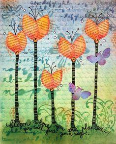 Gallery: Bloom art journal page - birgit koopsen for panpastel