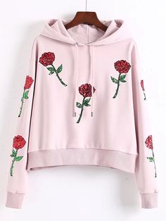 Shop Flower Sequined Embroidered Drawstring Hooded Sweatshirt online. SheIn offers Flower Sequined Embroidered Drawstring Hooded Sweatshirt & more to fit your fashionable needs.