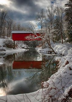 The Slaughterhouse Covered Bridge in Northfield, VT ~ Photograph by Jeff Folger