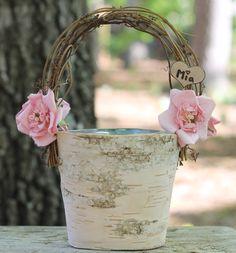 Rustic Birch Flower Girl Basket ♥ MichelesCottage - $46.99