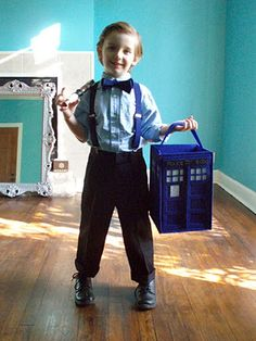 Dr who costume with Tardis candy bag! Brilliant! Now I really need to have a boy
