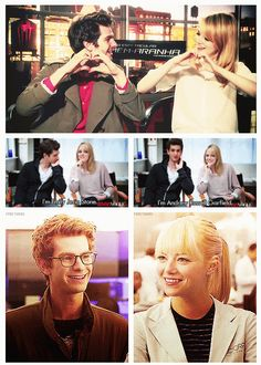 Andrew Garfield & Emma Stone, The Amazing Spider-Man. I just saw this today!:)