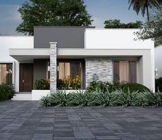 Image may contain: plant, tree, house and outdoor Modern House Facades, Modern Bungalow House, Modern Small House Design, Minimalist House Design, Modern Design, House Outside Design, House Front Design, House Construction Plan, Home Building Design