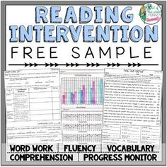 Everything you need for tier 2 or tier 3 reading interventions including passages running records comprehension vocabulary word work and progress monitoring! Great for tier 1 instruction and practice too! Reading Intervention Activities, Reading Assessment, Reading Fluency, Teaching Reading, Guided Reading, Reading Help, Reading Resources, Teaching Ideas, Fluency Activities